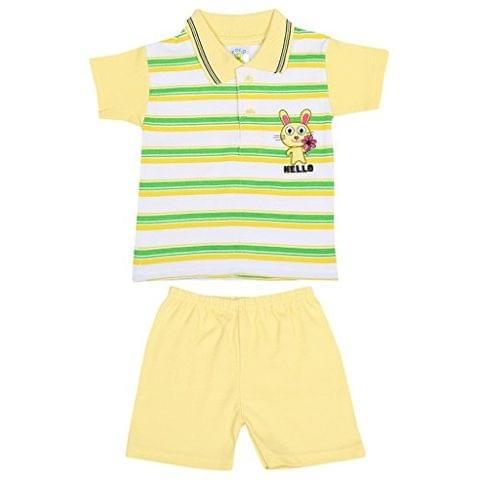 SIXER Polo Kid's Wear Lemon Yellow With Green White Striped Top