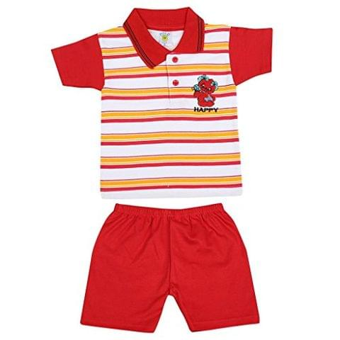 SIXER Polo Kid's Wear Red With White Yellow Striped Top