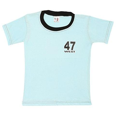 S.R.KIDS Cotton Baby Boys Rib Neck Blue Tshirt