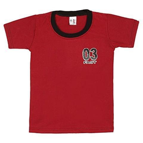 S.R.Kids Cotton Baby Boys Rib Neck Red Tshirt
