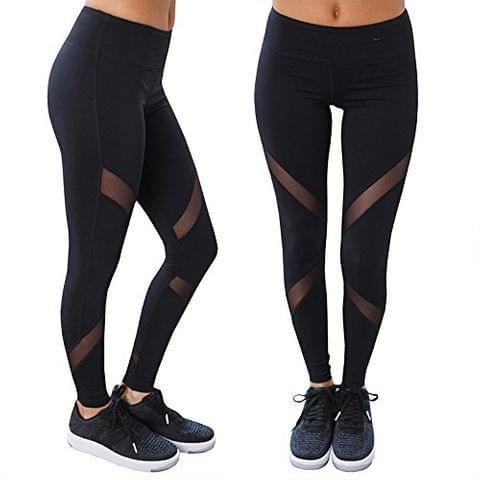 Active Sports Fitness Black Leggings Tights for Women|Girls (Black)