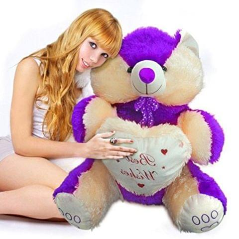 Cream & Purple Color Teddy Bear 60 cm