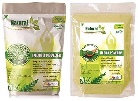NATURAL HEALTH AND HERBAL PRODUCTS Natural Henna Powder and Natural Indigo Leaves Powder (227 g Each) Pack of 2