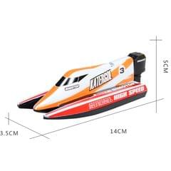 3313M 4-Channel 2.4GHz Rechargeable Mini F1 Racing Boat RC Speedboat Kids Toy with Remote Controller(Orange)