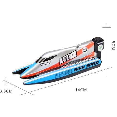 3313M 4-Channel 2.4GHz Rechargeable Mini F1 Racing Boat RC Speedboat Kids Toy with Remote Controller(Blue)