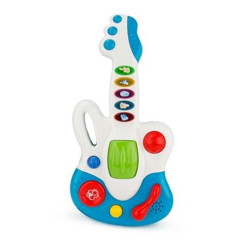 Brettbble Cartoon Baby Child Early Education Large Guitar Music Toys with LED Light(Blue)