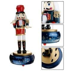 Retro Wooden Nutcracker Drummer Music Box for Gift Vintage Home Decoration(Blue)