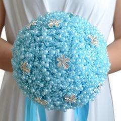 Wedding Holding Pearl Flowers Bridal Bouquet Accessories Bridesmaid Rhinestone Party Wedding Decoration Supplies, Diameter: 20cm(Blue)