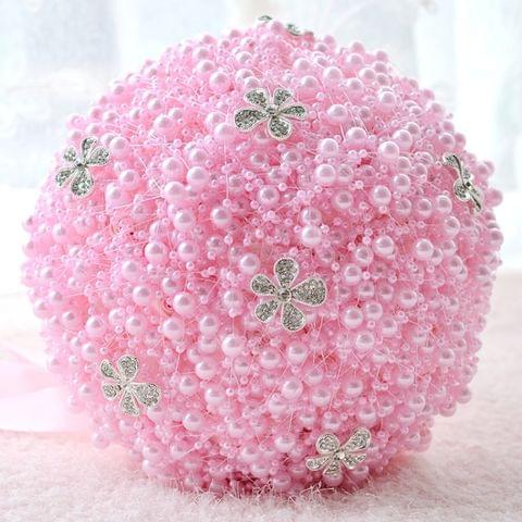 Wedding Holding Pearl Flowers Bridal Bouquet Accessories Bridesmaid Rhinestone Party Wedding Decoration Supplies, Diameter: 20cm(Pink)