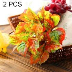 2 PCS Artificial Plants For Plastic Flowers Household Store Supplies Decoration Maple Leaf