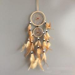 Home Decoration Retro Feather Dream Catcher Circular Feathers Wall Hanging Decor(Creamy White)