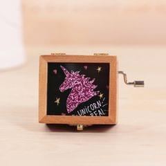 Unicorn Pattern Retro Style Wooden Hand Cranking Music Box Home Decoration