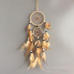 Home Decoration Retro Feather Dream Catcher Circular Feathers Wall Hanging Decor(Red)