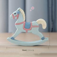 Creative Crafts Rocking Horse for Home House Decoration Desk Ornament (Baby Blue)