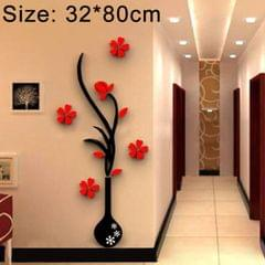 Creative Vase 3D Acrylic Stereo Wall Stickers TV Background Wall Corridor Home Decoration, Size: 32x80x4cm