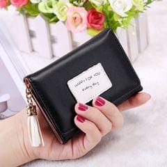Fashion Tassel Pendant 3-Folding Short Design PU Leather Wallet Coin Purse for Women(Black)