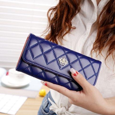 Fashion Argyles Texture Metal Crown 3-Folding Long Design PU Leather Wallet Coin Purse for Women(Dark Blue)