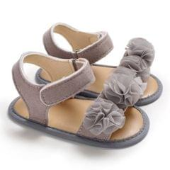 Flowers Baby Girls Shoes Anti-slip Sandals Prewalkers Walking Shoes Beach Sandals, Baby Age:0-6 Months(Grey)