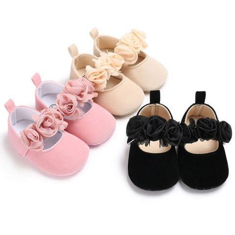 Lovely Flower Baby Girl Newborn Crib Shoes Soft Prewalker Anti-slip Baby Shoes(Blue)
