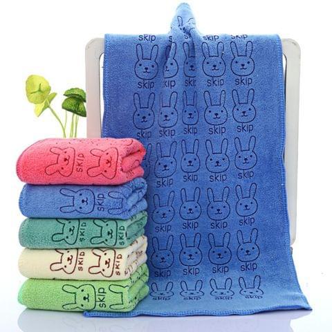 25*50cm Cute Baby Kid Towel Face Microfiber Absorbent Drying Bath Beach Towel Washcloth Swimwear Baby Towel Cotton Kids Towel(Beige)