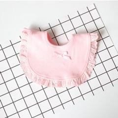 3 PCS Newborn Lace Bow Baby Bibs Infant Saliva Towels(Pink)