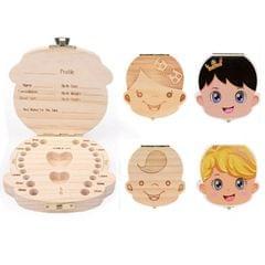 Wood Baby Teeth Box Organizer Milk Teeth Storage Box, Language:Russian(Girl)