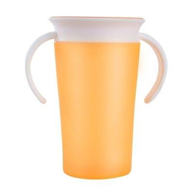 360 Degrees Rotated Baby Learning Drinking Cup With Double Handle Flip(Yellow)