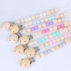 3 PCS Baby Pacifier Clip Chain Wooden Holder Soother Pacifier Clips Leash Strap Nipple Holder for Infant Feeding(Light blue)