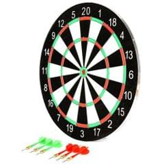 Planet of Toys Double Faced 17 inch Dart Board Set with 6 Darts for Teenagers