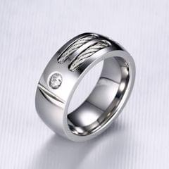 Europe and America Style Retro Men Ring Stainless Steel + Cubic Zirconia Steel Color Ring, Size: 8, Diameter: 18.2mm, Perimeter: 57mm