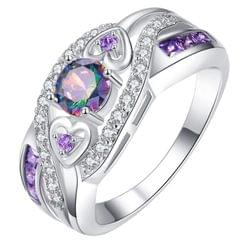 Lacyton Women Fashion Oval Heart Colorful Zircon Amethyst Ring, Ring Size:6(Multicolor)