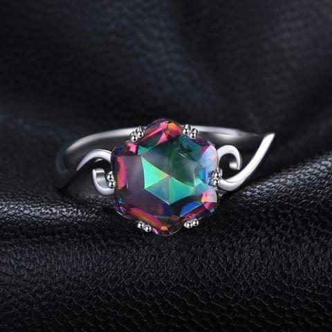 Seven Colored Gemstone Zircon Ring Solid 925 Sterling Silver Jewelry Ring 6