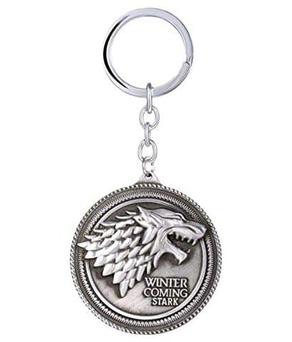 SOI Game of Thrones House Stark Direwolf Metal Keychain (Silver)