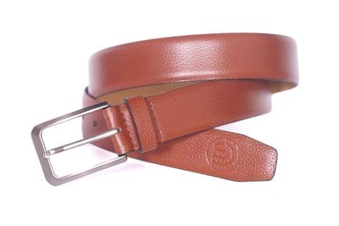 Designer Select Genuine Formal Tan Textured Leather Belt with Imported Pin Buckle