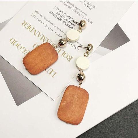 Simple Vintage Geometric Square Wood Long Earrings For Women(Brown)