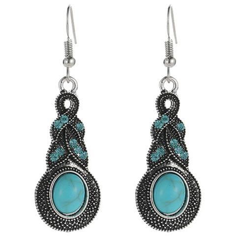 Tibetan Silver Pendant Earrings Natural Stone Drop Silver Pendant  Earrings for Women, Metal color:starfish