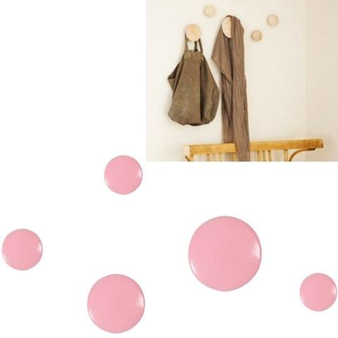 5 in 1 Wood Material Clothes Hanger Rack Round Hook Wall Hanger Pretty Home Decoration, Max Load Weight: 30kg(Pink)