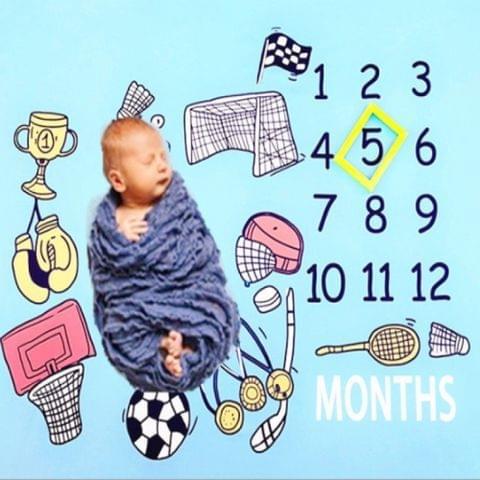 DIY Children Photo Props Photography Cloth Baby Photo Carpet(Love Sports)