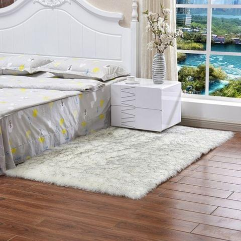 Luxury Rectangle Square Soft Artificial Wool Sheepskin Fluffy Rug Fur Carpet, Size:100x180cm(White + Gray)