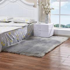 Luxury Rectangle Square Soft Artificial Wool Sheepskin Fluffy Rug Fur Carpet, Size:60x180cm(Gray)
