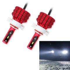 2 PCS X9 H16 18W 1800LM 6000K White Light 6 JES2016 LED Car Headlight Lamps, Red Shell, DC 10-30V
