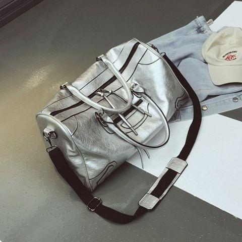 PU Leather Shoulder Travel Bag Leisure Sport Handbag (Silver)