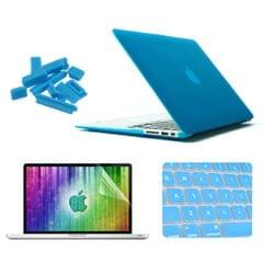ENKAY for MacBook Air 13.3 inch (US Version) 4 in 1 Frosted Hard Shell Plastic Protective Case with Screen Protector & Keyboard Guard & Anti-dust Plugs(Blue)