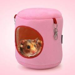 Flannel Cylinder Pet House Warm Hamster Hammock Hanging Bed Small Pets Nest, XL, Size:21*21*21cm(Pink)