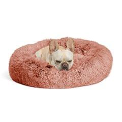 Autumn and Winter Plush Round Pet Nest Warm Pad Small kennel, Size:100cm(Pink)