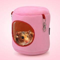 Flannel Cylinder Pet House Warm Hamster Hammock Hanging Bed Small Pets Nest, S, Size:10*9*9cm(Pink)