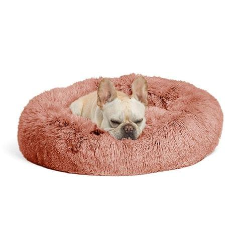 Autumn and Winter Plush Round Pet Nest Warm Pad Small kennel, Size:70cm(Pink)