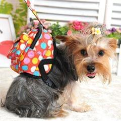 Pet Own Backpack Pet Circle Wave Point The Dog Small Backpack with Towing Rope Small , Chest Measurement: 30-42cm(Red)