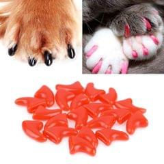 20 PCS Silicone Soft Cat Nail Caps / Cat Paw Claw / Pet Nail Protector/Cat Nail Cover, Size:XS(Red)