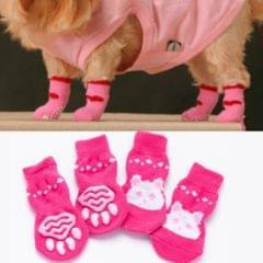 2 Pairs Cute Puppy Dogs Pet Knitted Anti-slip Socks(Pink Rabbit)